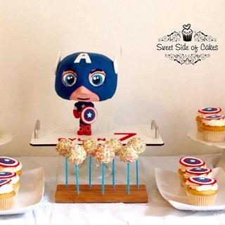 Chibi Captain America - Cake by Sweet Side of Cakes by Khamphet