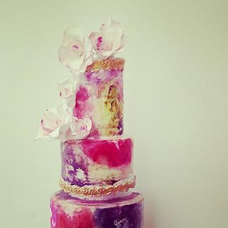 hand painted wedding cake.