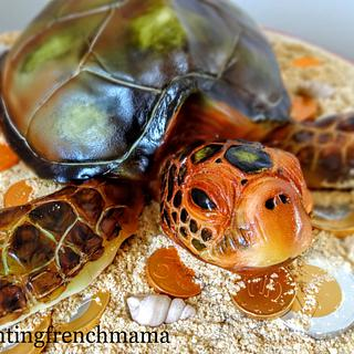 sea turtle over lost treasure... - Cake by rantingfrenchmama