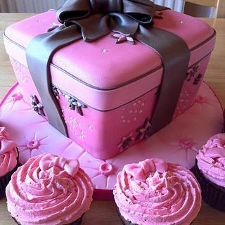 Pink and Brown wrapped cake - Cake by GazsCakery