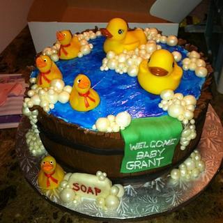 Rubber Ducky in Bath Barrell