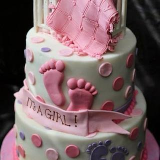Girl's Shower Cake - Cake by Creative Cakes By Deborah Feltham