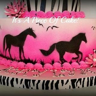 Zebra Print and Horse Cake
