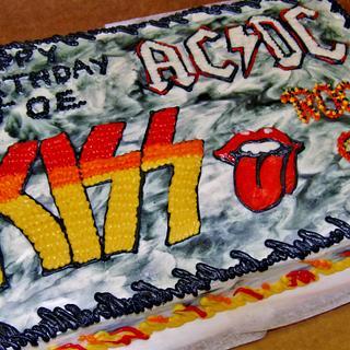 Rock-n-roll cake! Kiss, AC/DC, Aerosmith - Cake by Nancys Fancys Cakes & Catering (Nancy Goolsby)