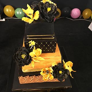 Gold and black theme cake