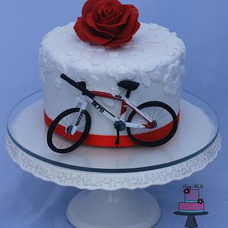 White and red with bicycle