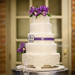 Iris and Lace Wedding Cake at the Alumni House Williamsburg