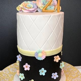 21st Pastel Flower Birthday Cake