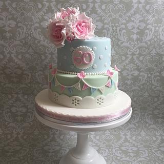 Vintage style birthday cake