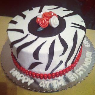 Zebra Print / Stripe Birthday Cake