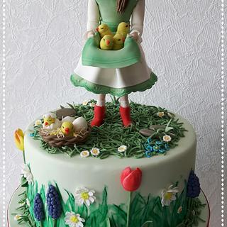 Fondant Cake Topper Sweat Easter Collaboration - Spring Girl