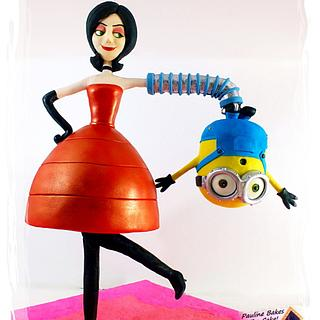 Gravity Defying Structured Cake : Upside Down Bob Minion & Scarlet Overkill!