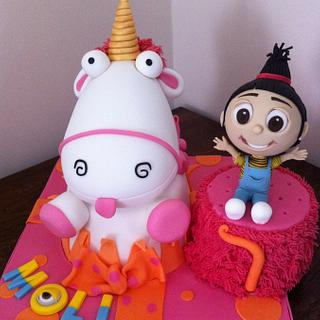 Dispicable me Agnes and her fluffy unicorn   - Cake by Sue