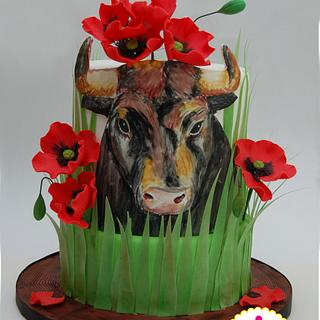 Animal Rights Cake Collaboration: Bull in poppies