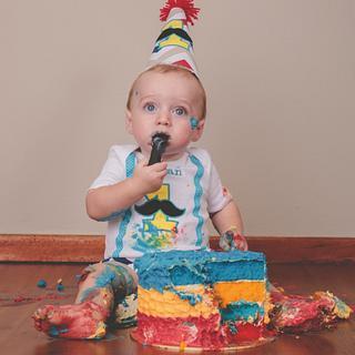 Ombre Little Mr. Smash Cake