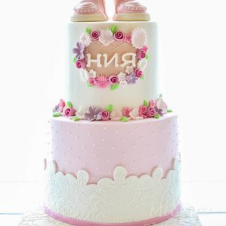 Baby Girl Booties Cake