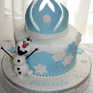 Frozen Cake with Olaf and Elsa's Tiara - Cake by Mira - Mirabella Desserts