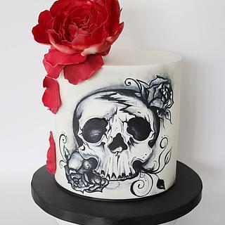 Hand painted skull cake