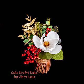 A Christmas Edible Flower arrangement  - Cake by Vinita Lobo