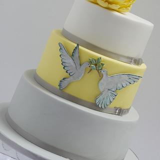 Doves of Peace Wedding Cake