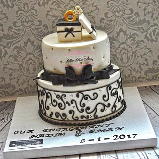 Black & white Engagement Cake