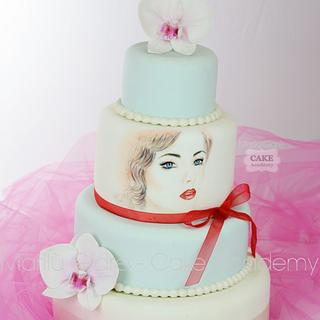 Emily's portrait painted cake