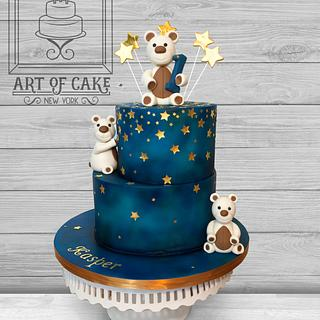 Midnight Stars Teddy Bears Boy 1st Birthday Cake - Cake by Akademia Tortu - Magda Kubiś