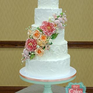 textured buttercream floral wedding cake