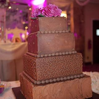Chocolate wedding cake, hot pink peonies