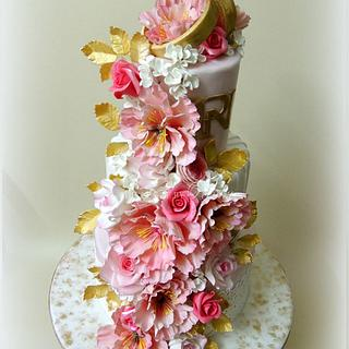 Pink, White & Gold Engagement Cake