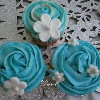 Blue Vanilla Buttercream Cupcakes