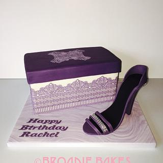 Purple lace shoebox cake and shoe - Cake by Broadie Bakes