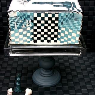 Handpainted Chess in M.C.Escher-style