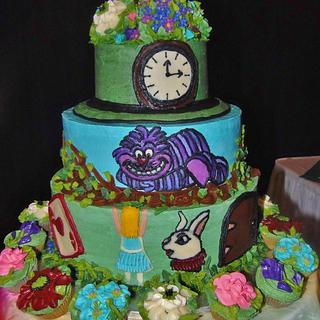 Alice In Wonderland tiered ALL Buttercream