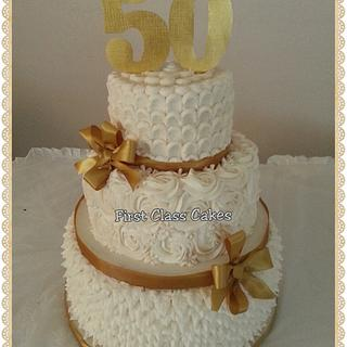50th Wedding Anniversary Cake - Cake by First Class Cakes