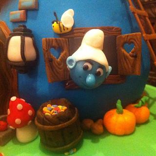 Smurfs Mushroom House Cake - Cake by Creative Bites