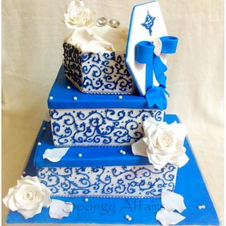 White and Blue Engagement Cake