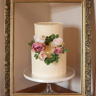 2 tier buttercream with wave effect top edges - Cake by Kasserina Cakes