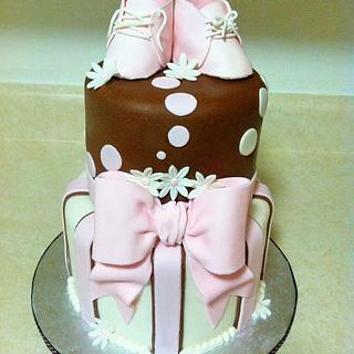 Brown and Pink Baby Shower Cake
