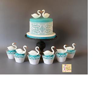 Swan Cake and Cupcakes