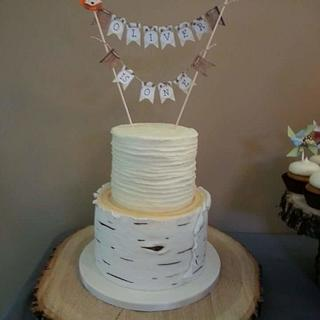 Rustic woodland 1st birthday cake
