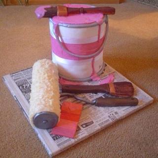 Paint pot, brush & roller cake