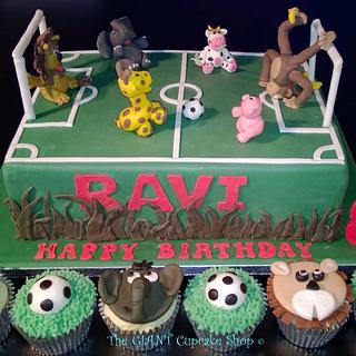 Animal Football Cake