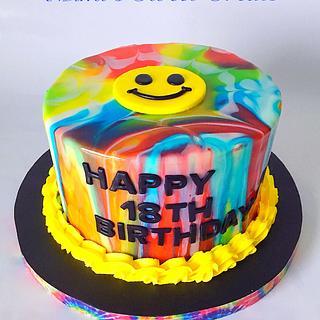Mirrored TyeDye Emoji - Cake by MimisSweetTreats