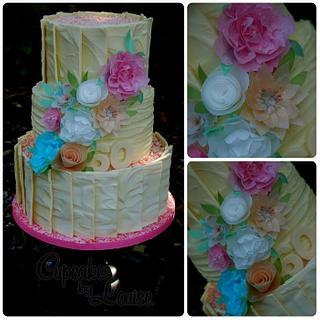 White chocolate and rice paper birthday cake
