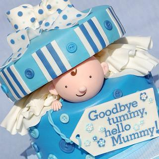 Peek-a-boo Baby Shower - Cake by Lesley Wright