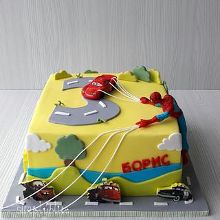 McQueen and Spiderman cake