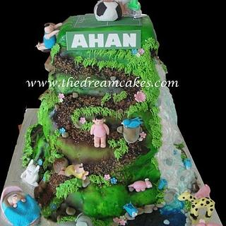 Mountain cake with baby stages