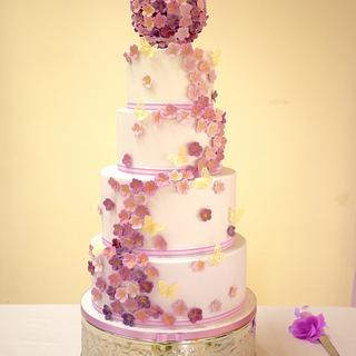Liliac Blossom Wedding Cake