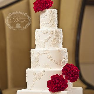 Sugar peonies lace wedding cake